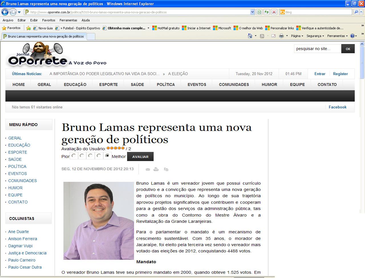 Bruno Lamas representa uma nova geração de políticos