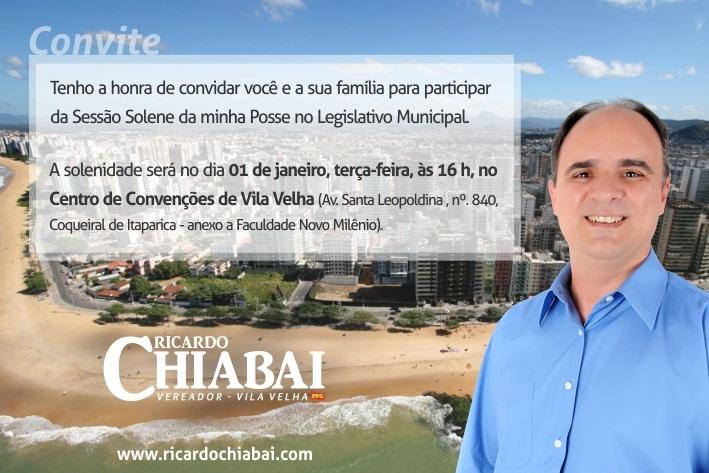 Convite para a Posse do Vereador Ricardo Chiabai