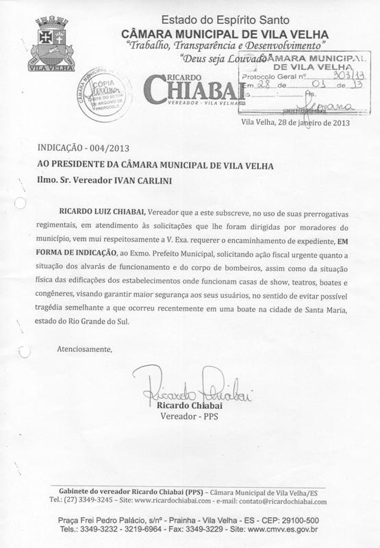 Indicação de Chiabai é atendida pela PMVV: Fiscalização em casas noturnas