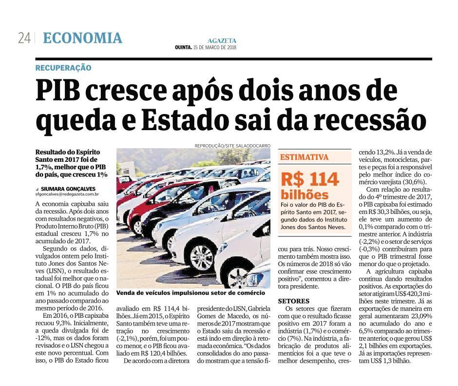 PIB DO ESTADO SOBE 1,7%. - SUPERÁVIT ULTRAPASSA R$ 1 BILHÃO