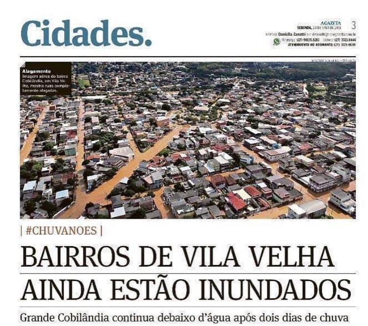 Mais uma vez a chuva intensa passou. Mas o sofrimento do povo de Vila Velha continua.