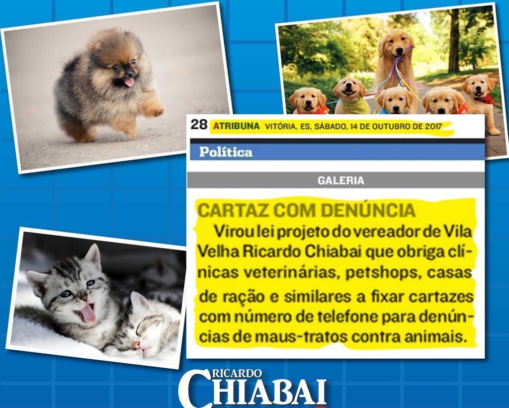 Você sabia que, desde de 2017, temos uma lei de nossa autoria em defesa dos animais em Vila Velha.