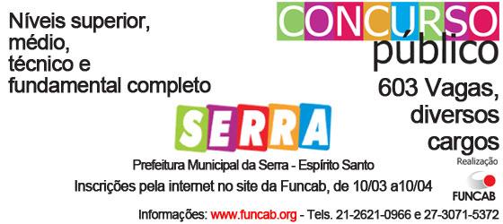 Prefeitura da Serra abre inscrições para concurso público