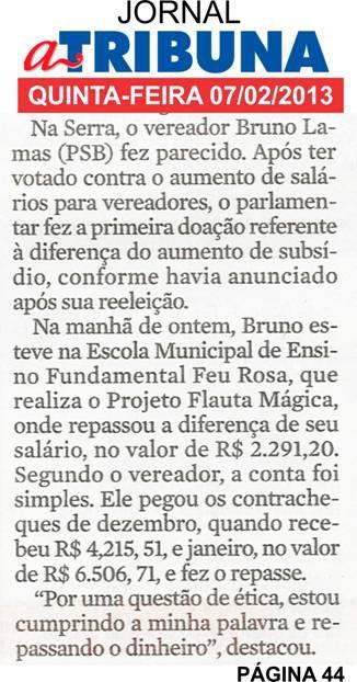 Gesto de Bruno Lamas é citado no jornal A Tribuna
