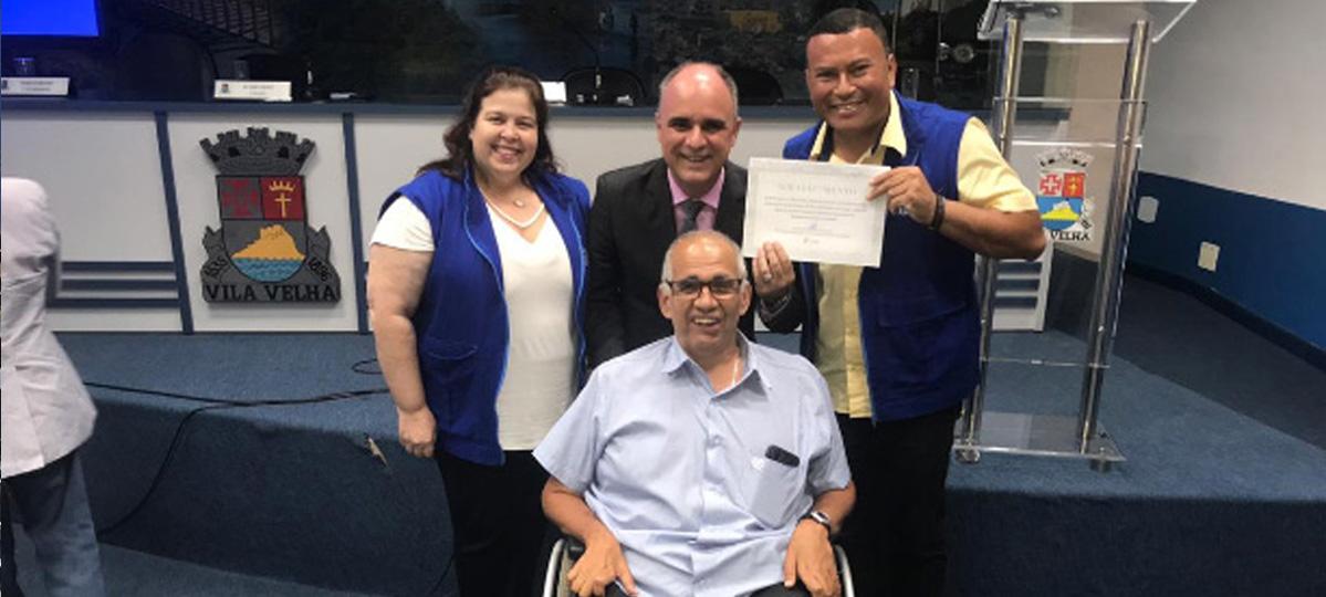 Chiabai homenageado pela PMV por serviços  prestados em favor da acessibilidade
