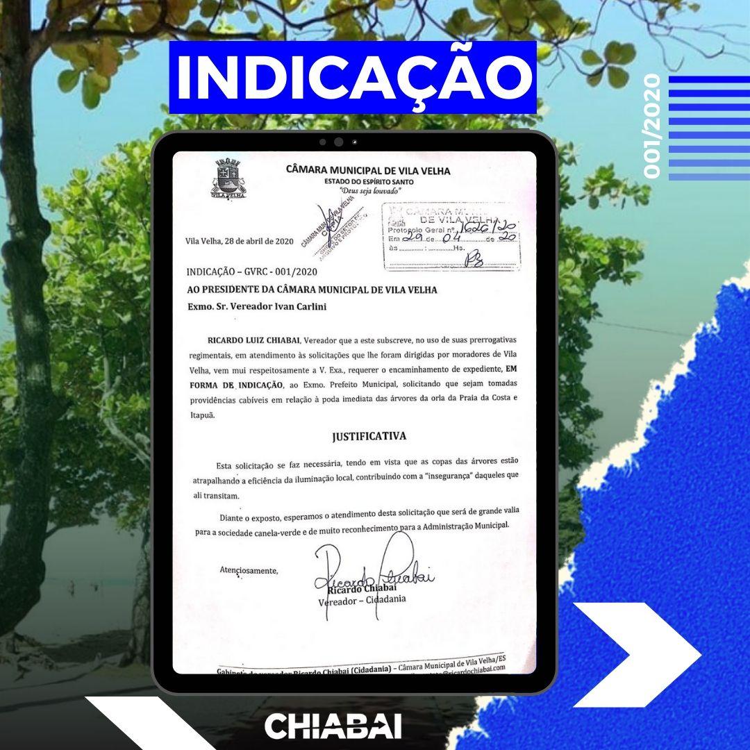 Indicação de Chiabai pede a poda imediata na orla de Vila Velha