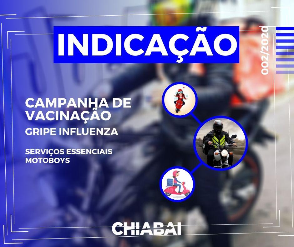 Chiabai indica mutirão de vacinação contra influenza para motoboys em Vila Velha