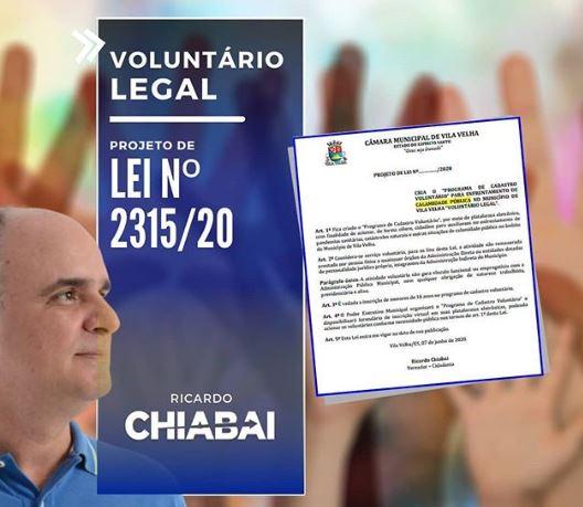 Voluntário Legal, projeto de Chiabai, é aprovado por unanimidade na Câmara