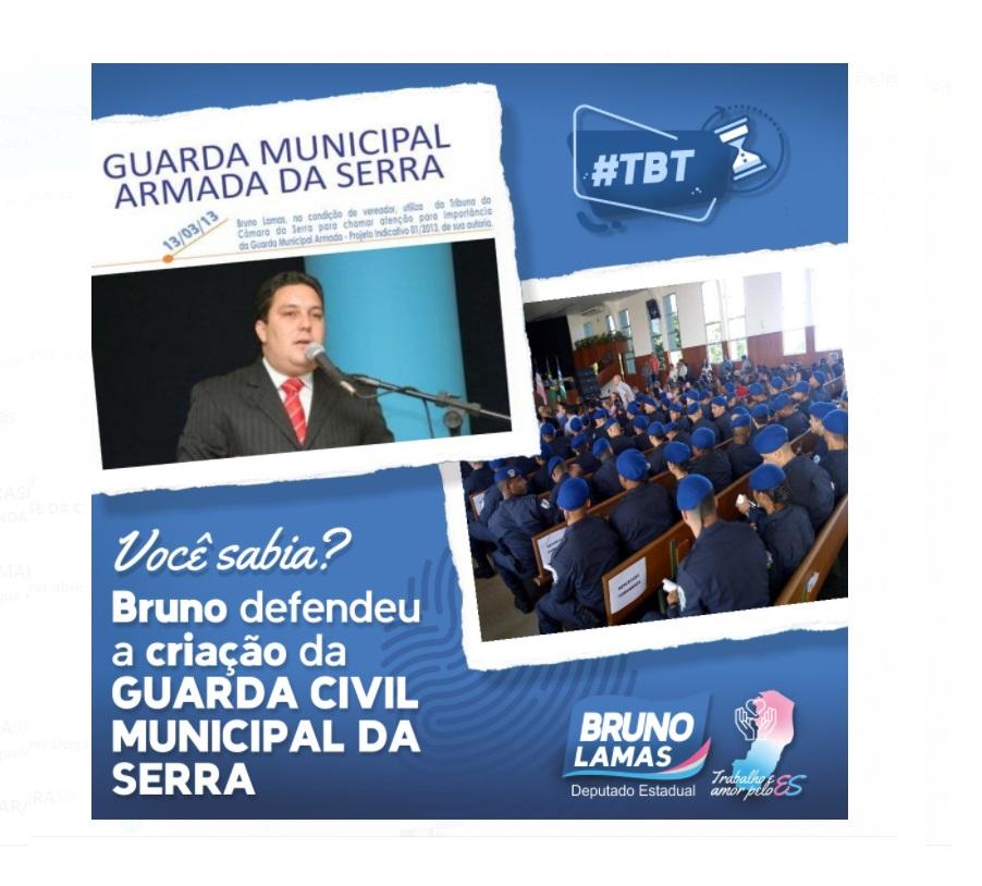 Você sabia? Bruno Lamas indicou a criação da Guarda Municipal na Serra