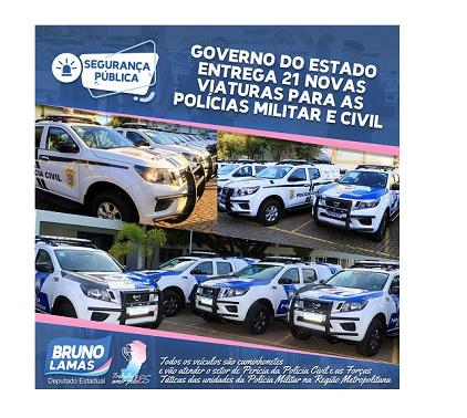 Governo investe em tecnologia e entrega 21 novas viaturas às polícias Civil e Militar