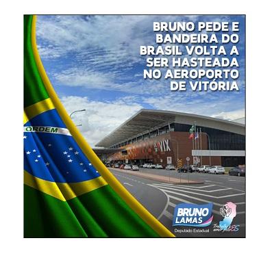 Bandeira do Brasil voltou a ser hasteada no aeroporto