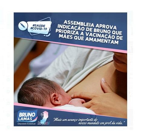 Assembleia aprova indicação de Bruno que prioriza a vacinação de mães que amamentam
