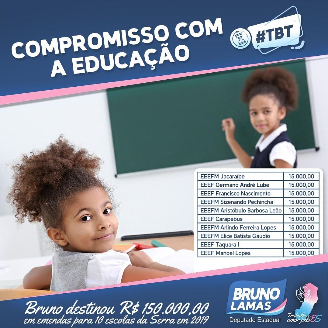 Educar é colaborar com Deus. Bruno Lamas destina R$ 150 mil aos conselhos de escolas da Serra