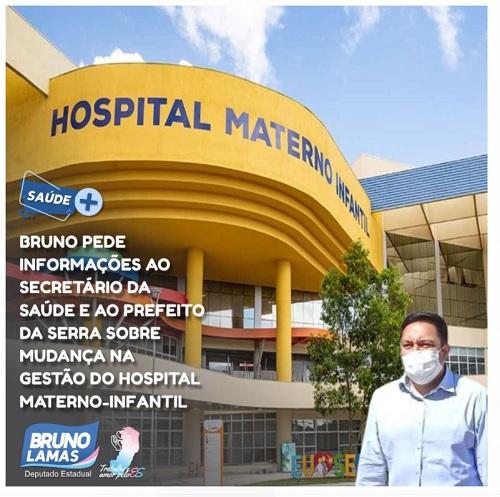 Bruno pede informações ao secretário da Saúde e ao prefeito da Serra sobre mudança na gestão do Hospital Materno-Infantil
