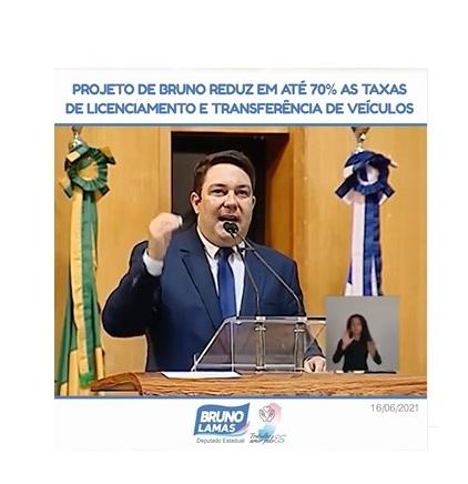 Projeto de Bruno reduz em até 70% as taxas de licenciamento e transferência de veículos
