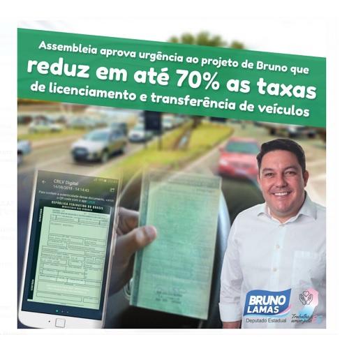 Assembleia aprova urgência ao projeto de Bruno que reduz em até 70% as taxas de licenciamento e transferência de veículos